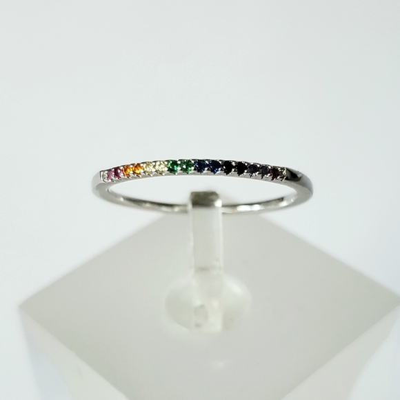 Sterling Pave Rainbow Band